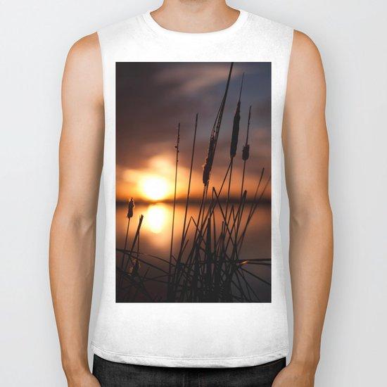 Sunset Lake and Silhouette Biker Tank