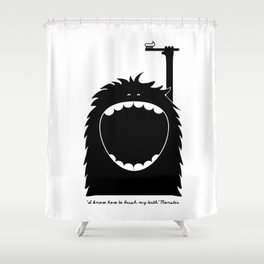"""""""I know how to brush my teeth"""" Monster Shower Curtain"""
