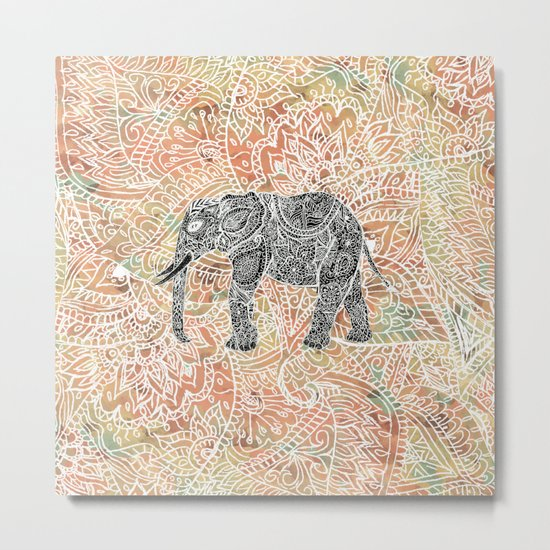 Tribal Paisley Elephant Colorful Henna Floral Pattern Metal Print
