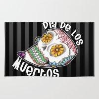 dia de los muertos Area & Throw Rugs featuring Dia De Los Muertos by Beneath The Floorboards