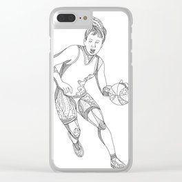 Female Basketball Player Doodle Art Clear iPhone Case