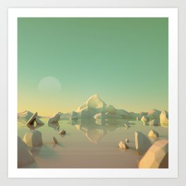 Low-Poly Mountain Landscape Reflecting on Water Art Print