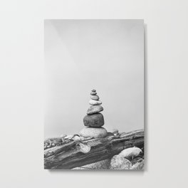 Balance of Nature peppel cairn black white Metal Print
