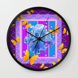 Blue Iris Golden Butterflies Blue-Purple Pattern Art Wall Clock