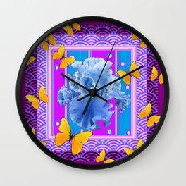 Blue Iris Golden Butterflies Blue-Purple Pattern Art Wall Clock