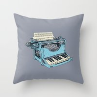 teal Throw Pillows featuring The Composition. by Matt Leyen