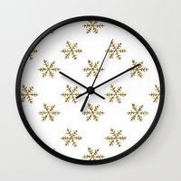 golden girls Wall Clocks featuring Golden snowflakes by Better HOME