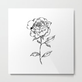 Monochrome Rose Metal Print