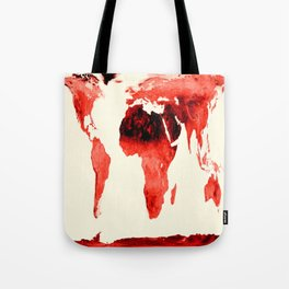 World Map brick red Tote Bag
