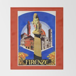 Florence Firenze travel, lion statue Throw Blanket