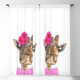 Giraffe funny animal illustration Blackout Curtain