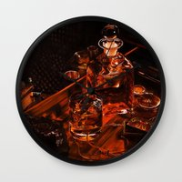 whiskey Wall Clocks featuring Whiskey by Esra Meral Demircan