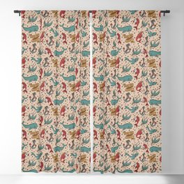 Seas the Day Tattoo - Teal Blackout Curtain
