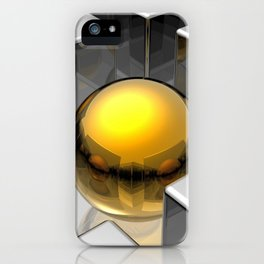 3D Golden Sphere Ball In Between Silver Cubes Squares Ultra HD iPhone Case