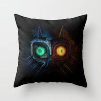 majora Throw Pillows featuring Majora Mask  by DavinciArt
