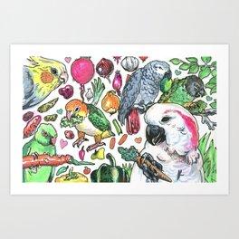 Parrots with Veggies Art Print