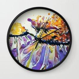 Poppin Purple Echinacea watercolor by CheyAnne Sexton Wall Clock