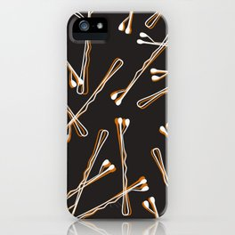 Bobby Pins on Black iPhone Case