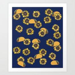 Taco Tuesday Sunflowers Art Print