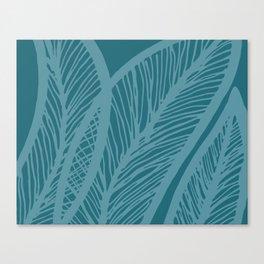 Teal Banana Leaf Canvas Print