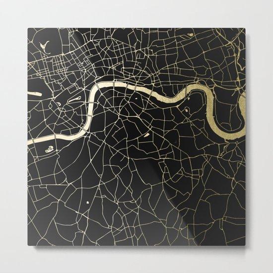 London Black on Gold Street Map Metal Print
