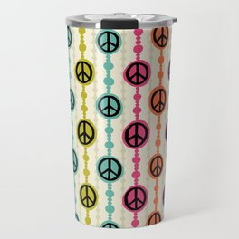 Peace Signs Hippie Beaded Curtain Travel Mug
