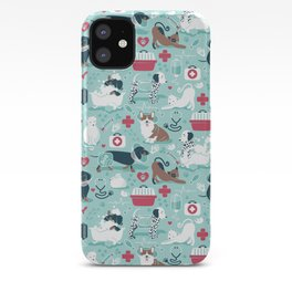 Veterinary medicine, happy and healthy friends // aqua background iPhone Case