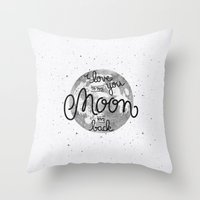 sayings Throw Pillows featuring I love you to the moon and back by Earthlightened