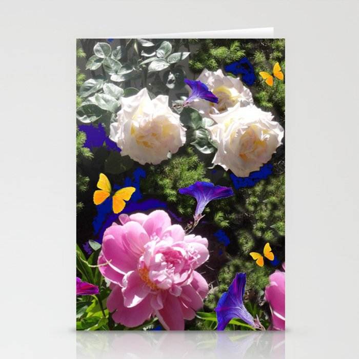 WHITE ROSES PINK  PEONIES BUTTERFLY GARDEN ART Stationery Cards