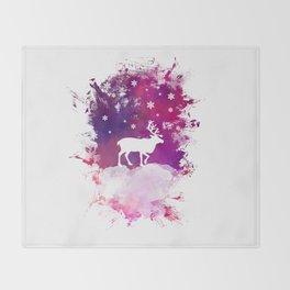 Caribou winter art Throw Blanket
