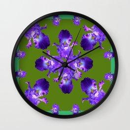 Purple Iris Abstract in Green Wall Clock