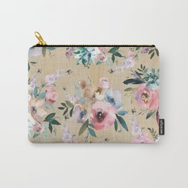 Pastel pink teal green watercolor pine wood floral Carry-All Pouch