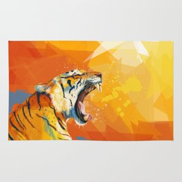 Tiger in the morning Rug