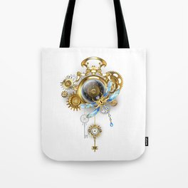 Steampunk Clock with Mechanical Dragonfly Tote Bag