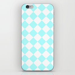 Large Diamonds - White and Celeste Cyan iPhone Skin