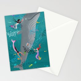 Mermaids attending to a whale and cleaning the ocean Stationery Cards