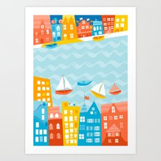Whimsical Waterfront City Art Print