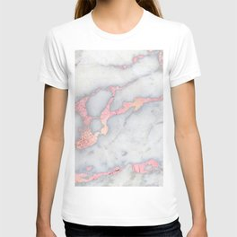 Rosegold Pink on Gray Marble Metallic Foil Style T-shirt