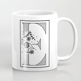 Letter E - Floral Monogram Collection Coffee Mug