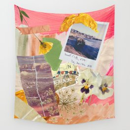 Abstract Textured Collage Pattern - Pressed Flowers, Paint, Vintage Photos Wall Tapestry