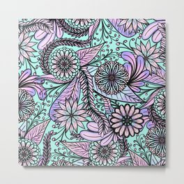 Girly Artsy Pastel Pink Cyan Floral Illustrations Metal Print