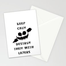 Keep Calm and Destroy Them With Lazers Stationery Cards