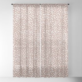Little wild cheetah spots animal print neutral home trend warm dusty rose coral Sheer Curtain