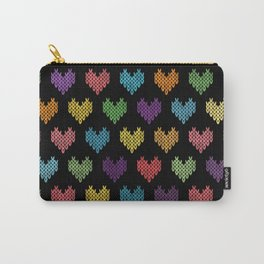 Colorful Knitted Hearts Carry-All Pouch
