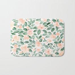 "Loose watercolor florals, ""Miriam"" Bath Mat"