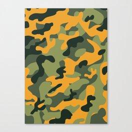 Green & Orange Camo Canvas Print