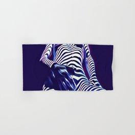 1813s-AK Sensual Blue Nude in Window Blind Stripes Hand & Bath Towel