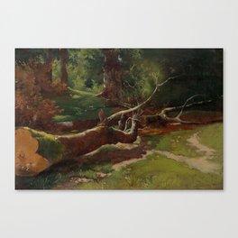 CALAME, ALEXANDRE Vevey 1810-1864 Menton Tree cut. Circa 1855. Canvas Print