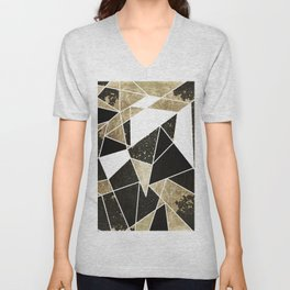 Modern Rustic Black White and Faux Gold Geometric Unisex V-Neck