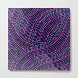 Dot Art Aboriginal Art Waves Purple Metal Print